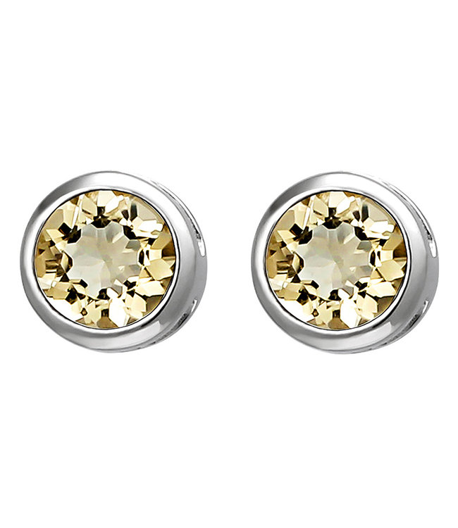 Aurora Patina Sterling silver earstuds yellow citrine 6 mm