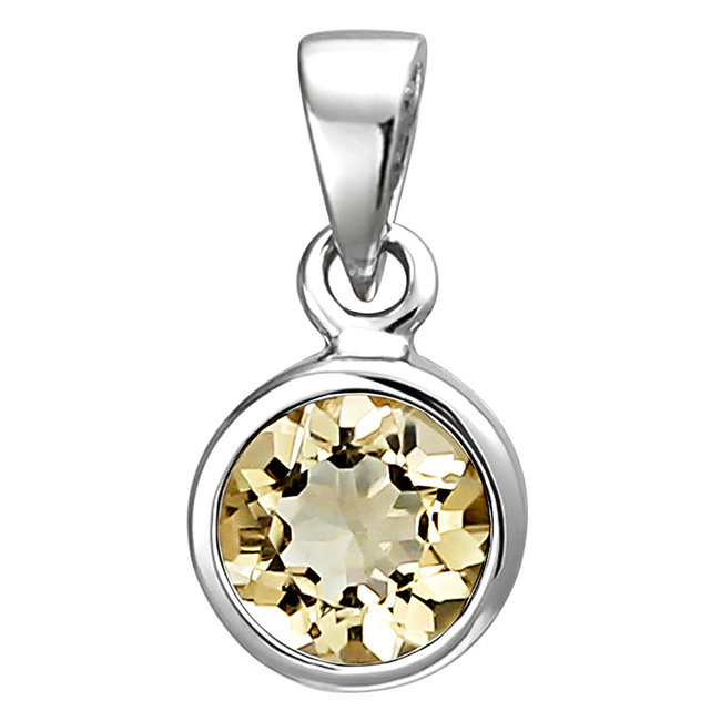 Pendant in 925 sterling silver with citrine 6 mm