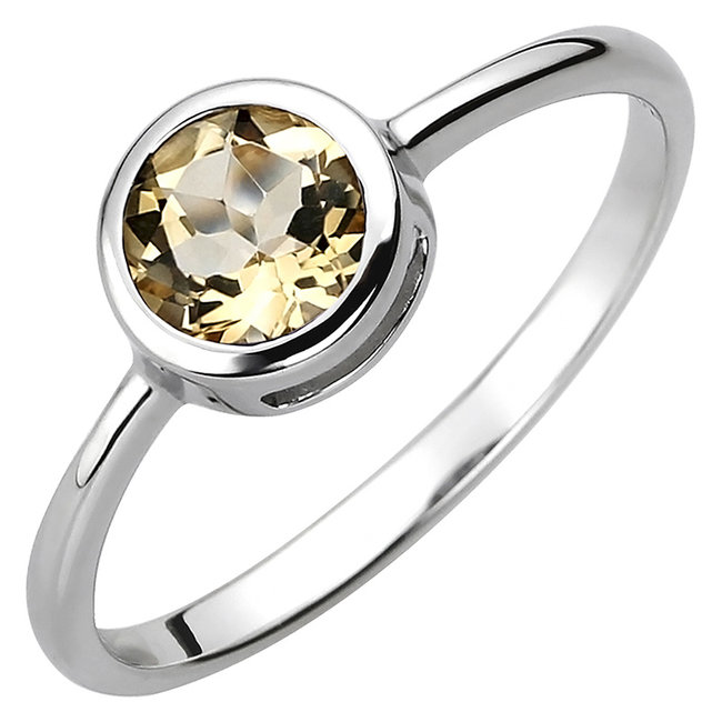 Ring in 925 sterling silver with citrine approx. 6 mm