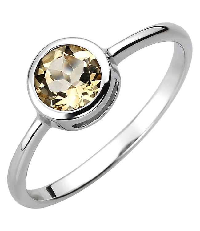 JOBO Ring in 925 sterling silver with citrine approx. 6 mm