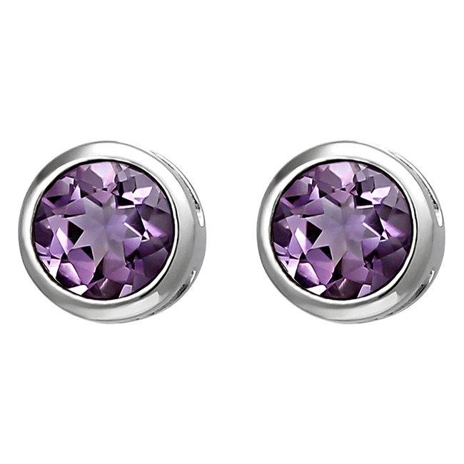 Sterling silver earstuds purple amethyst 6 mm