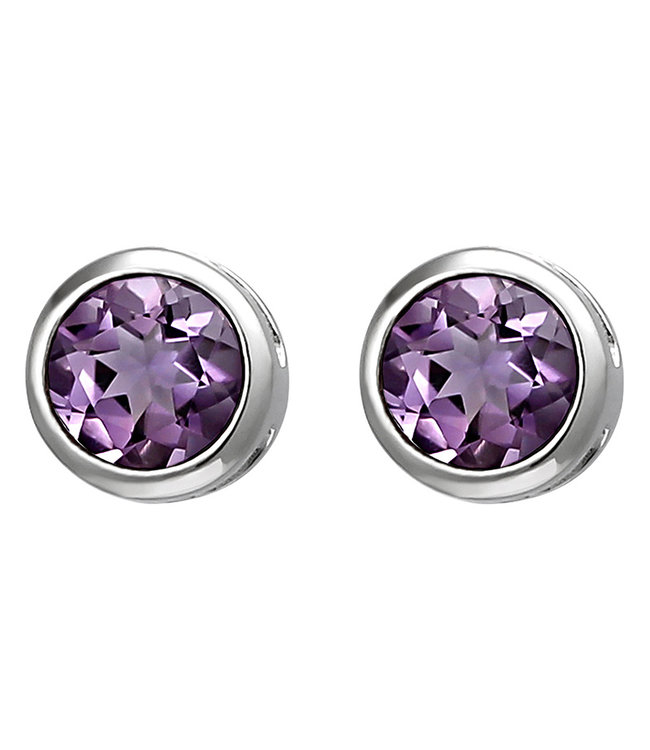 Aurora Patina Sterling silver earstuds purple amethyst 6 mm