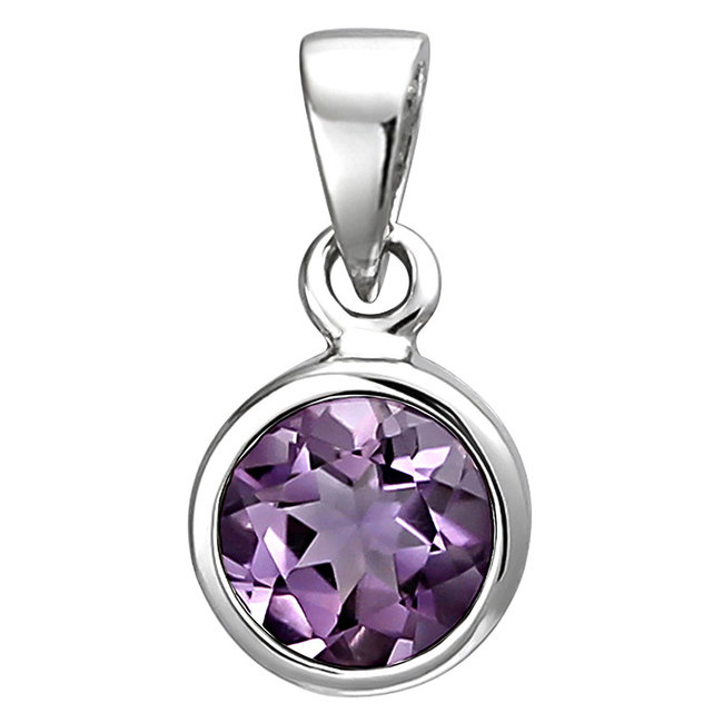 Pendant in 925 sterling silver with amethyst 6 mm
