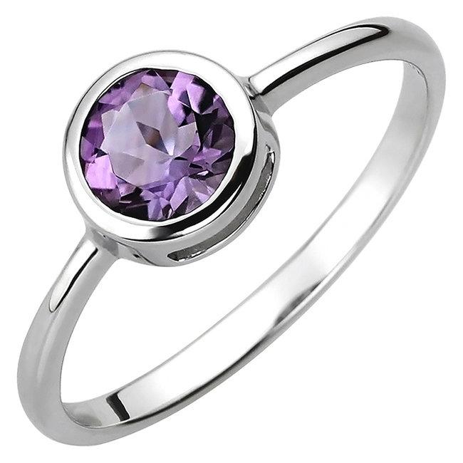 Ring in 925 sterling zilver met amethist ca. 6 mm