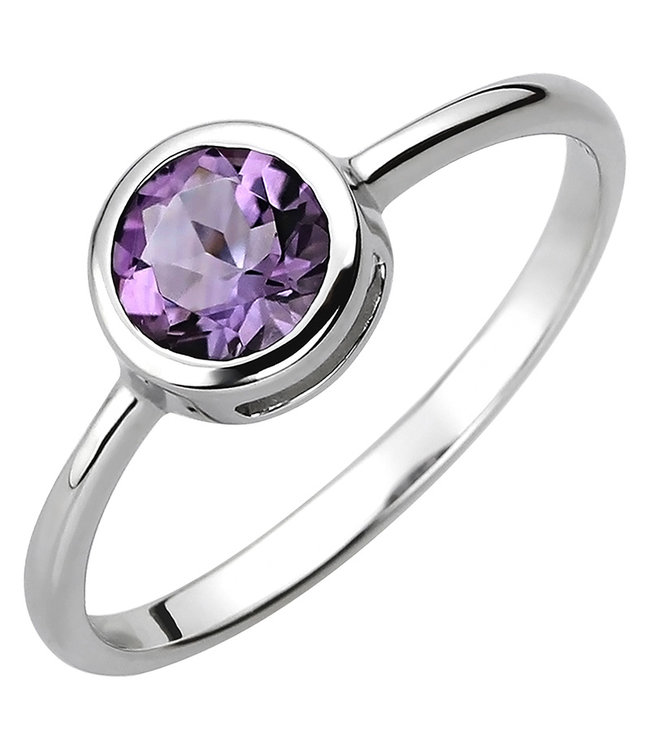 JOBO Ring in 925 sterling silver with amethyst approx. 6 mm