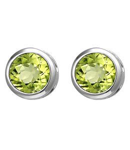 JOBO Zilveren oorstekers peridot 6 mm