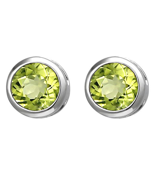 JOBO Zilveren oorstekers met groene peridot 6 mm