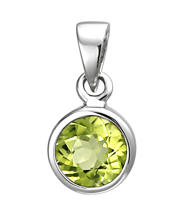 Aurora Patina Pendant in 925 sterling silver with peridot 6 mm