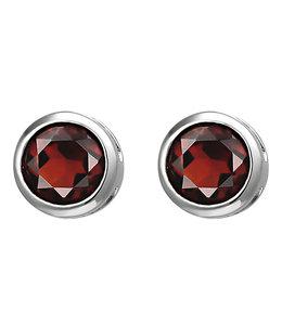Aurora Patina Silver earstuds garnet 6 mm