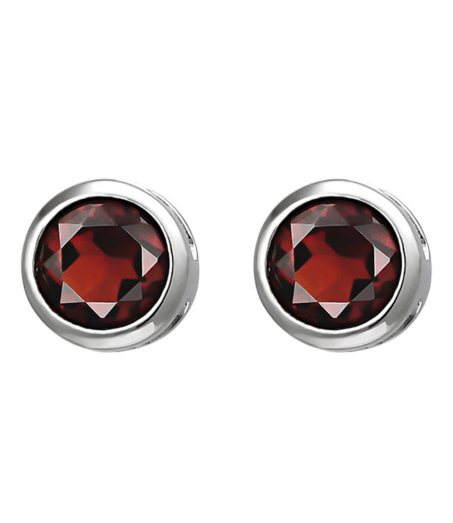 Aurora Patina Sterling silver earstuds red garnet 6 mm