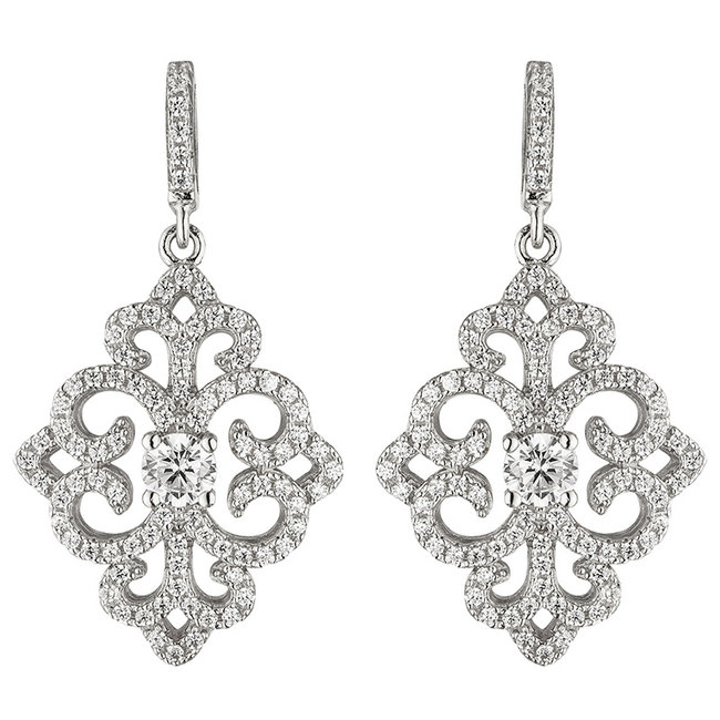 Silver earrings with 178 zirconias