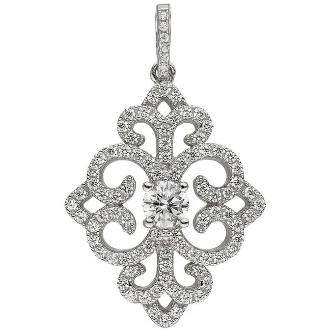 Pendant in 925 sterling silver with 89 zirconias