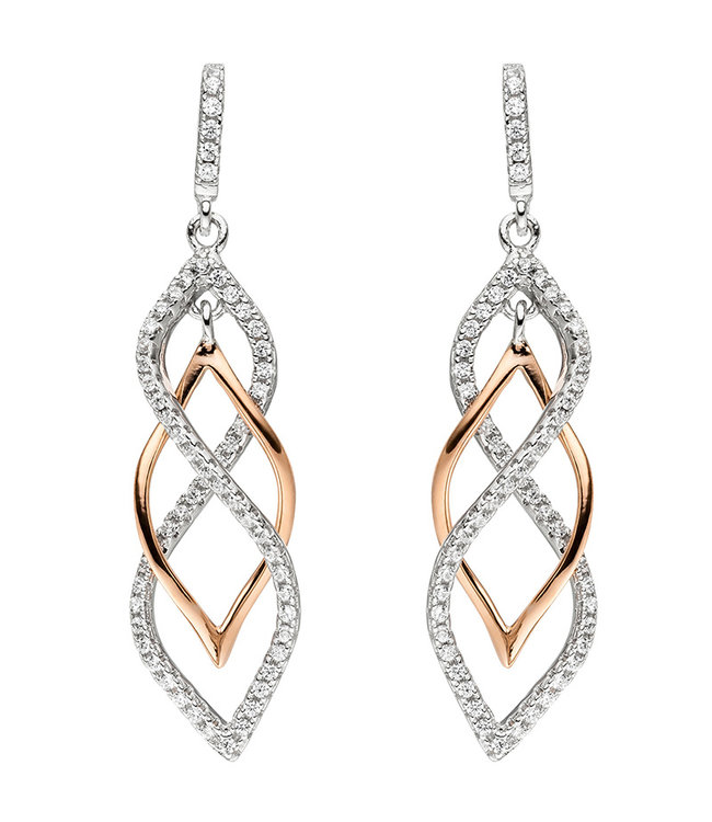 JOBO Silver earrings with zirconias partly gold plated