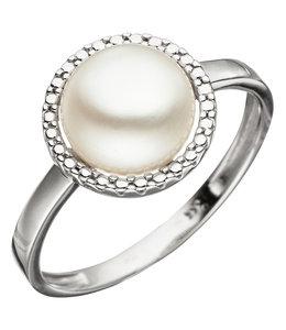 Aurora Patina Weißgold Ring mit Süßwasser Perle