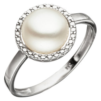 Aurora Patina White gold ring with fresh water pearl