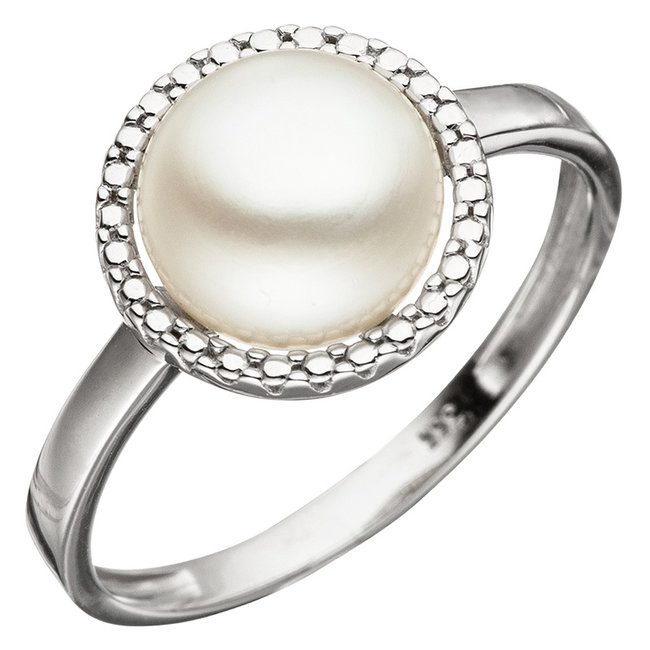 White gold ring 8 carat with pearl approx. 8.5 - 9 mm