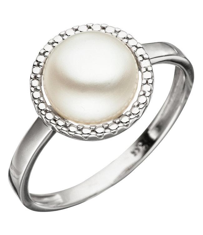 JOBO Wit gouden ring 8 karaat met zoetwaterparel ca. 8,5 - 9 mm