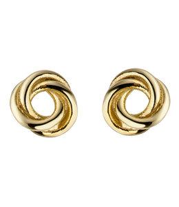 Aurora Patina Gouden oorstekers Knoop 5 mm 8 karaat
