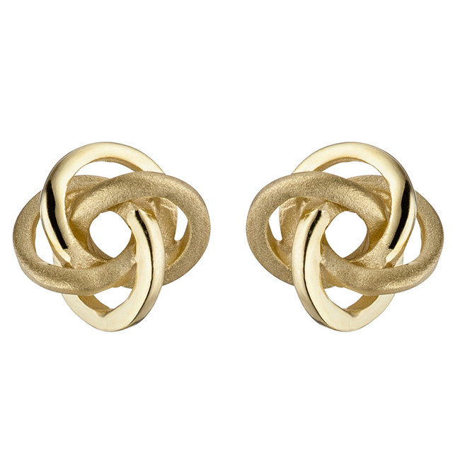 Gold earstud Double Knot 8 carat (333) partly matted