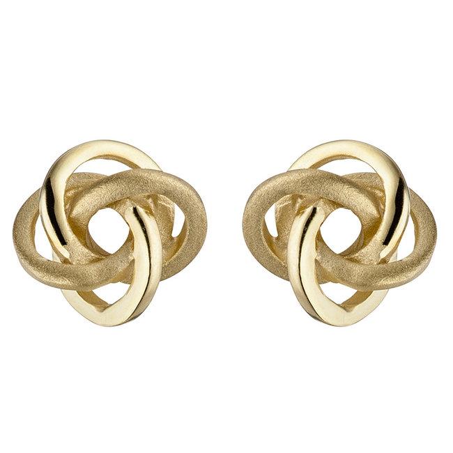Gouden oorknopjes Dubbele Knoop 8 karaat deels gematteerd