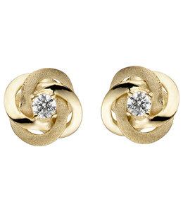 JOBO Gouden oorstekers Dubbele Knoop zirkonia