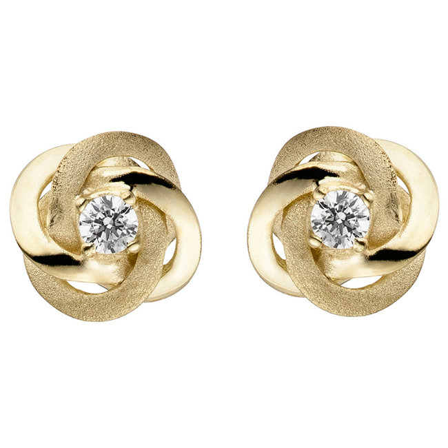 Gold earstud Double Knot zirconia partly matted