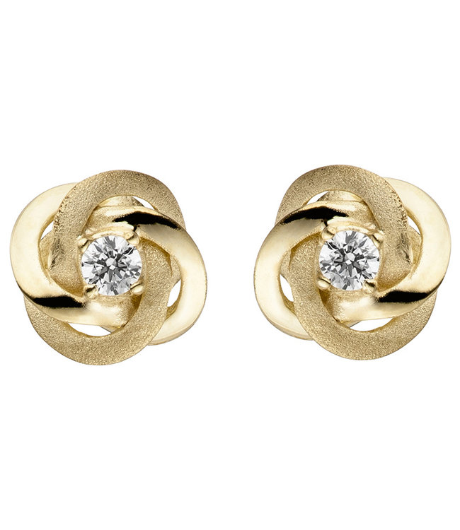 JOBO Gold earstud Double Knot zirconia partly matted