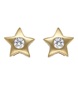 Aurora Patina Gold earstuds Star with zirconia