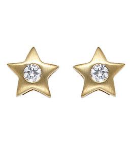 Aurora Patina Gouden oorstekers Ster met zirkonia