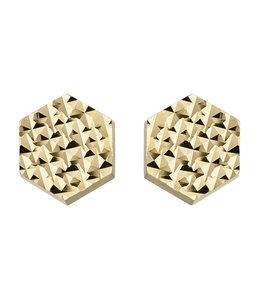 Aurora Patina Golden hexagonal ear studs 6 mm