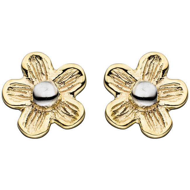 Gold earstud Flower matted duocolor