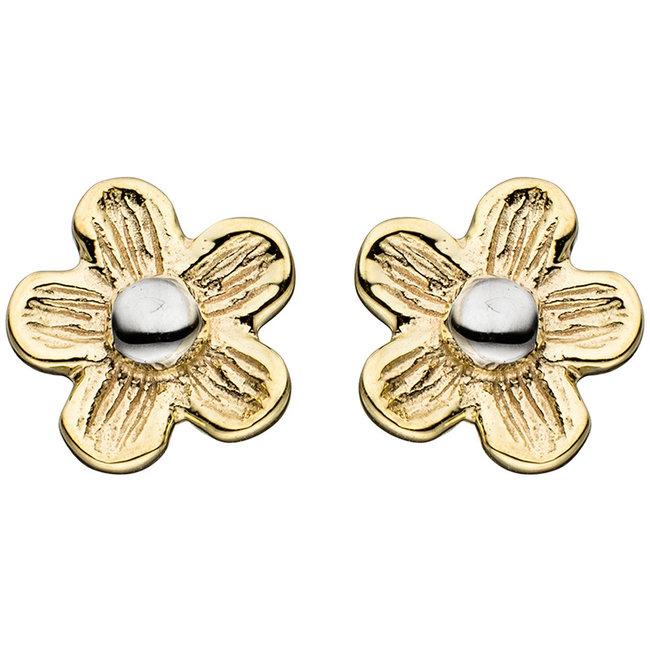 Gouden oorknopjes Bloem gematteerd duocolor