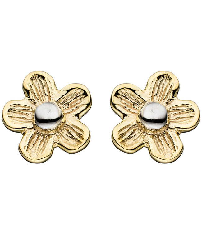 Aurora Patina Gold earstud Flower matted duocolor