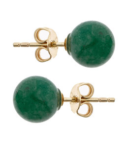 Aurora Patina Golden ear studs with aventurine