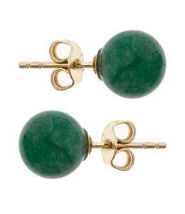 Aurora Patina Gouden oorstekers met aventurijn