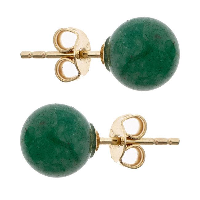 Golden ear studs with green aventurine