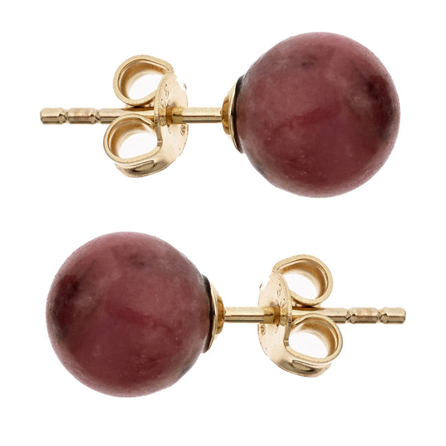 Golden ear studs with red rhodonite
