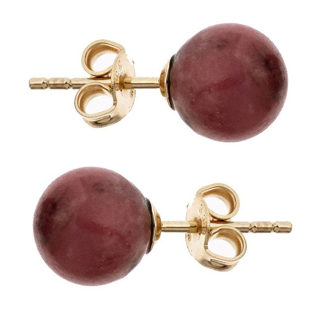 Gouden oorstekers met rode rhodoniet