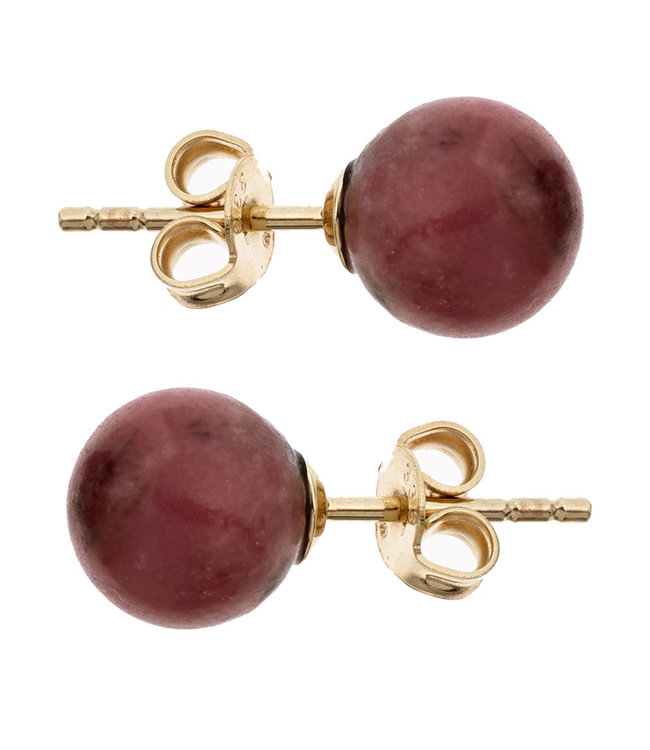 Aurora Patina Golden ear studs with red rhodonite