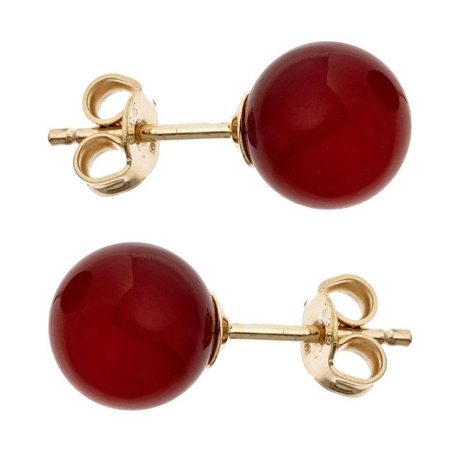 Gouden oorstekers met rode carneool