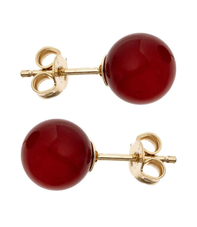 Aurora Patina Golden ear studs with red carnelian