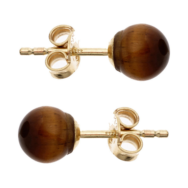 Aurora Patina Golden ear studs with tiger eye