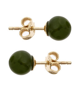 Aurora Patina Golden ear studs with green jade