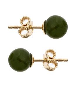 JOBO Golden ear studs with green jade