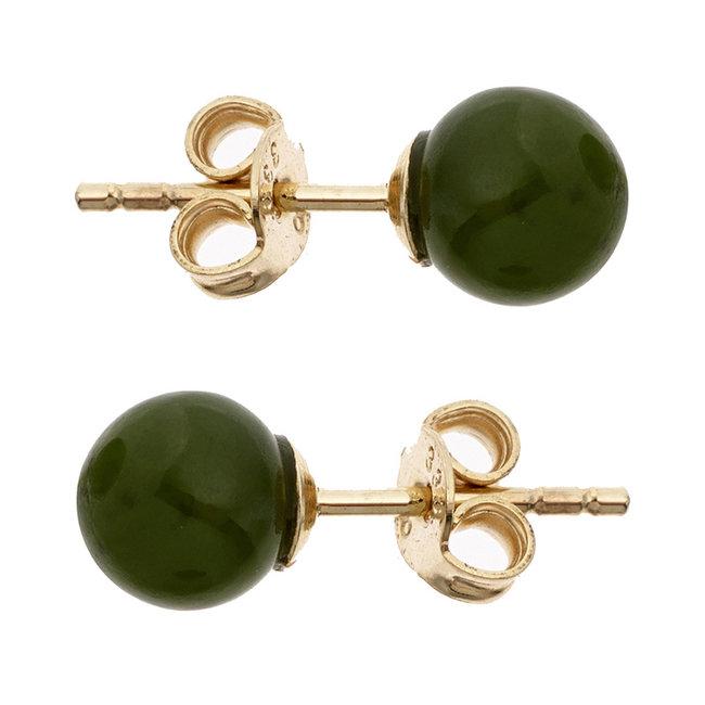 Golden ear studs with green jade