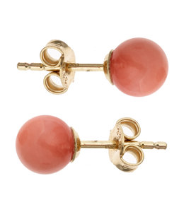 JOBO Gouden oorstekers met roze koraal