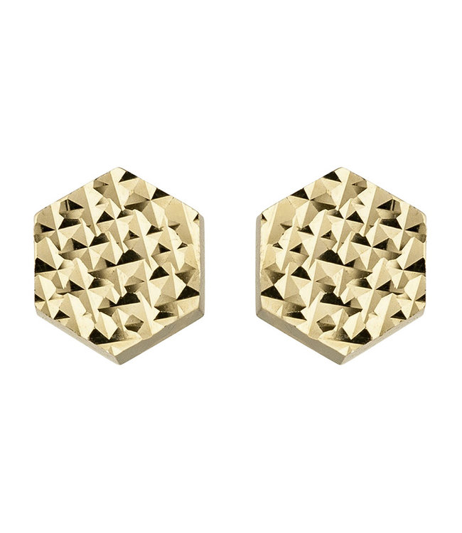 JOBO Golden hexagonal ear studs 8 carat 333 6.5 mm