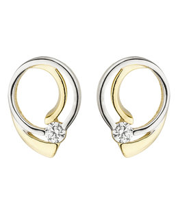 Aurora Patina Golden ear studs bicolor with zirconia