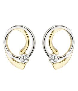 Aurora Patina Gouden oorstekers bicolor met zirkonia
