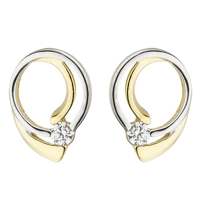 Golden ear studs double colored with zirconia